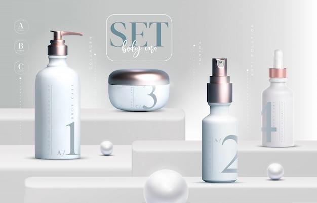 Os produtos cosméticos 3d elegantes ajustaram a embalagem do frasco de creme para cuidados com a pele. creme facial de luxo. folheto de anúncios cosméticos ou banner design. modelo de creme cosmético. marca de produtos de maquiagem.