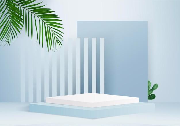 Os produtos de fundo 3d exibem a cena do pódio com a plataforma geométrica de folhas verdes. fundo 3d render com pódio. estande para mostrar produtos cosméticos. vitrine de palco em estúdio de exibição de pedestal azul