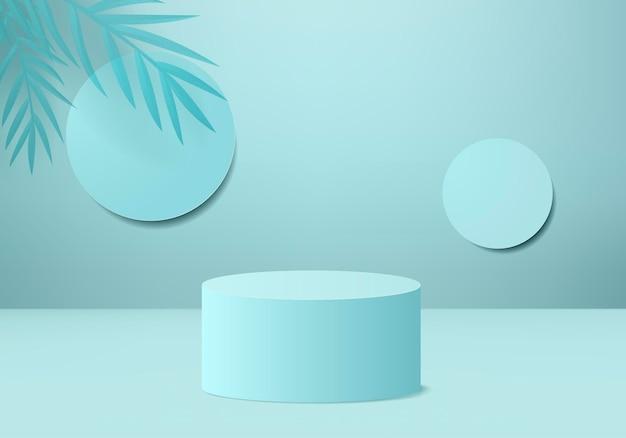 Os produtos de fundo 3d exibem a cena do pódio com a plataforma geométrica de folhas verdes. fundo 3d render com pódio. vitrine de palco em estúdio de exibição de pedestal azul