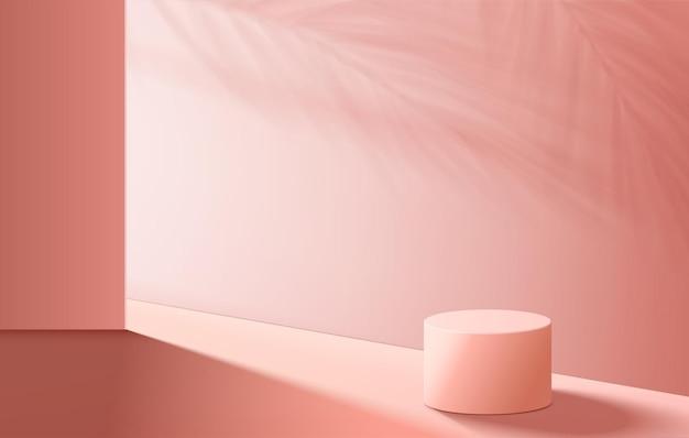 Os produtos de fundo 3d exibem a cena do pódio com a plataforma geométrica de folhas verdes. fundo do vetor 3d render com pódio. estande para mostrar produtos cosméticos. vitrine de palco em estúdio rosa de exibição em pedestal