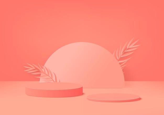 Os produtos de fundo 3d exibem a cena do pódio com uma plataforma geométrica de folha de palmeira. fundo 3d render com pódio. vitrine de palco em estúdio laranja com display de pedestal