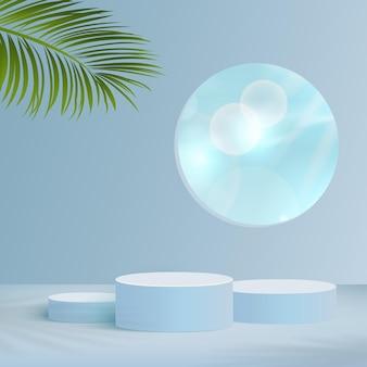 Os produtos exibem uma cena de pódio de fundo 3d com céu nublado e plataforma geométrica de forma azul. ilustração vetorial.