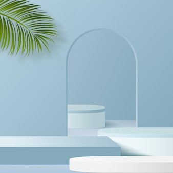 Os produtos exibem uma cena de pódio de fundo 3d com uma plataforma geométrica de forma azul. ilustração vetorial.