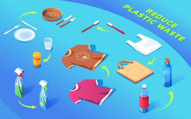 Os produtos plásticos reciclam com setas, reaproveitam linhas de lixo e reduzem o conceito de resíduos plásticos