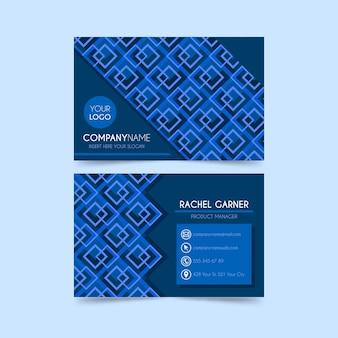 Os quadrados projetam o cartão azul clássico