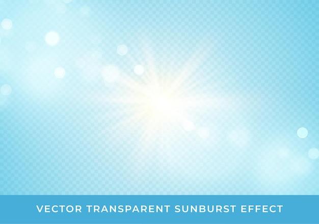 Os raios de sol desfocaram o efeito de bokeh transparente isolado em fundo azul claro