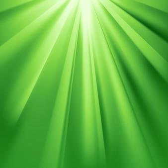 Os raios verdes brilham com efeito e transparência deslumbrantes. ilustração vetorial