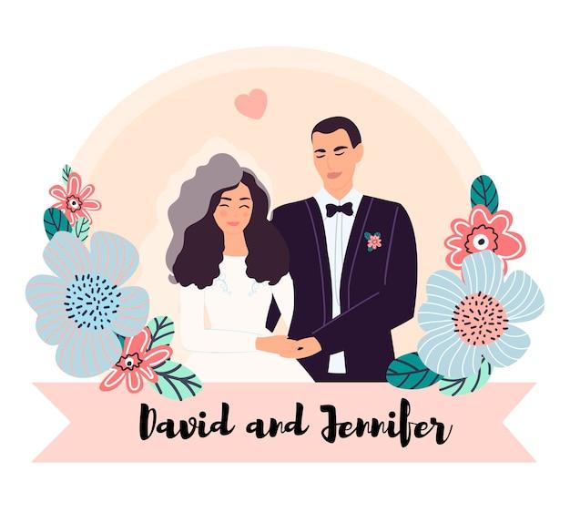 Os recém-casados são um marido e uma mulher de mãos dadas.