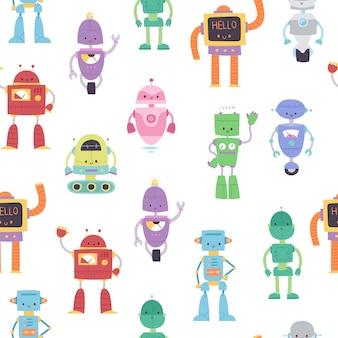 Os robôs e os transformadores brincam para a ilustração sem emenda dos desenhos animados do teste padrão das crianças.