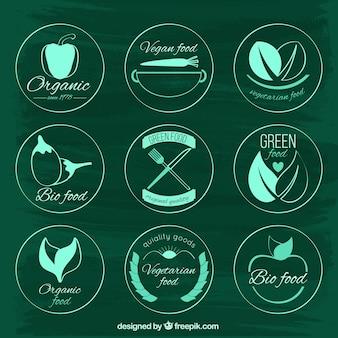 Os rótulos dos alimentos vegan verde desenhados mão