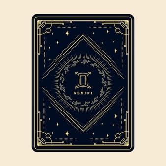 Os signos do zodíaco de gêmeos, cartões do horóscopo, constelação de estrelas, cartão decorativo do zodíaco com moldura decorativa