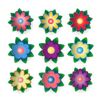 Os símbolos das flores são multicoloridos