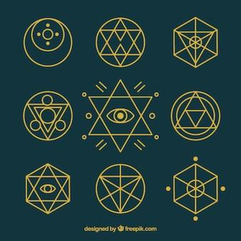 Os símbolos químicos com esboço dourado