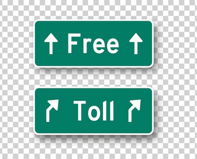 Os sinais de trânsito com portagem e livre isolaram elementos de design do vetor. coleção de placas verdes de rodovia em fundo transparente