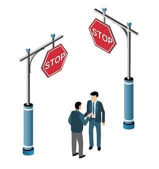 Os sinais de trânsito isométricos
