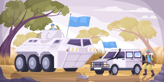 Os soldados da paz transportam uma composição plana e colorida de dois veículos militares com ilustração de bandeiras azuis