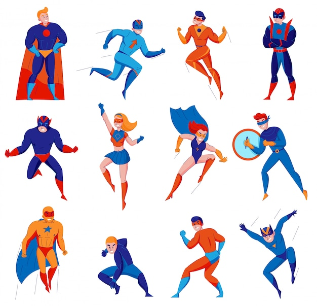 Os super-heróis dos desenhos animados personagens de jogos eletrônicos de banda desenhada com o super-homem batwoman homem aranha mulher maravilha isolada