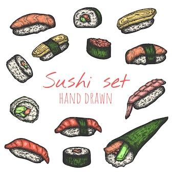 Os tipos do sushi vector o grupo tirado mão, ilustrações isoladas do esboço.