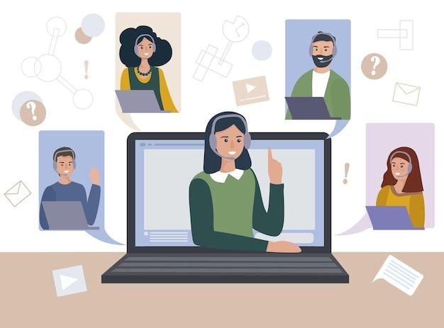 Os trabalhadores da equipe falam em uma videoconferência