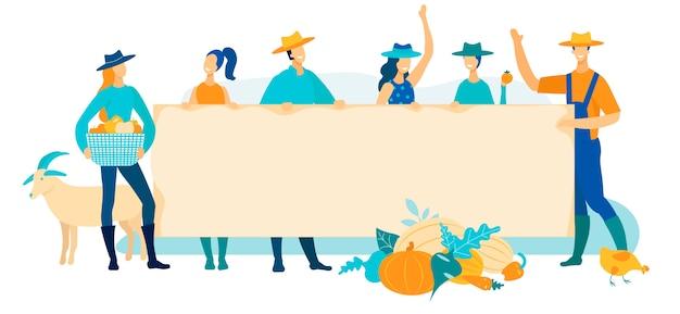 Os trabalhadores da exploração agrícola da ilustração do vetor exultam plano.