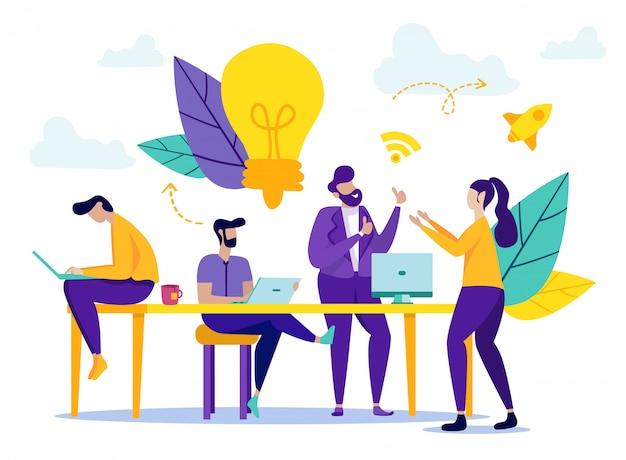 Os trabalhadores de escritório discutem a ideia de negócio