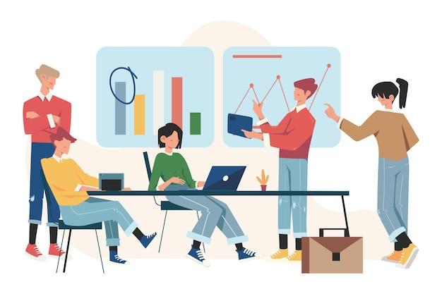 Os trabalhadores estão sentados à mesa de negociação, brainstorming, análise de informações da empresa