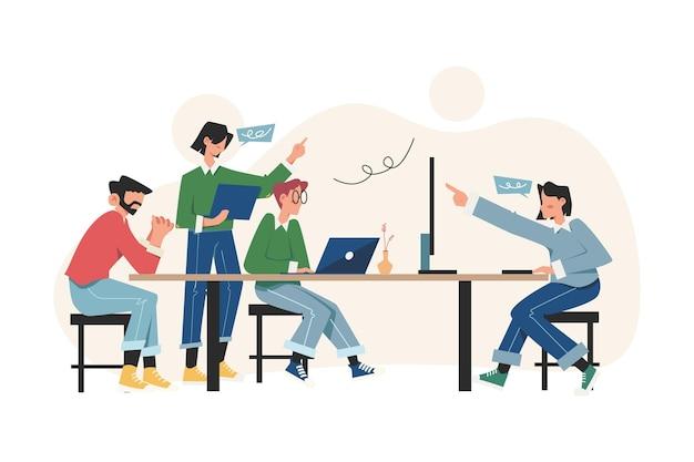 Os trabalhadores estão sentados à mesa de negociação pensando e brainstorming