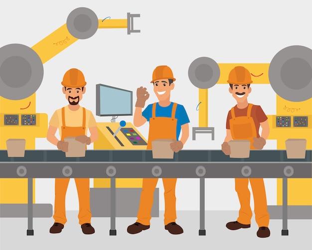 Os trabalhadores trabalham no transportador. transportador de produção.