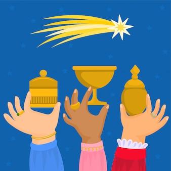 Os três reis do oriente, mãos com presentes