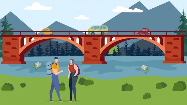 Os turistas com mochilas estão na ilustração da margem do rio.