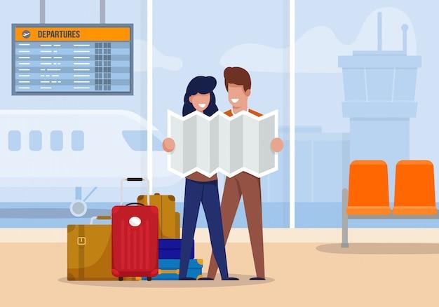 Os turistas da ilustração exploram a rota no aeroporto.