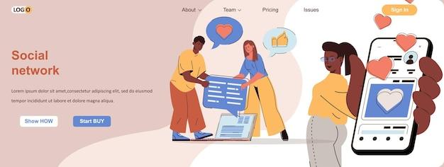 Os usuários do conceito da web da rede social se comunicam online, compartilham e comentam as postagens