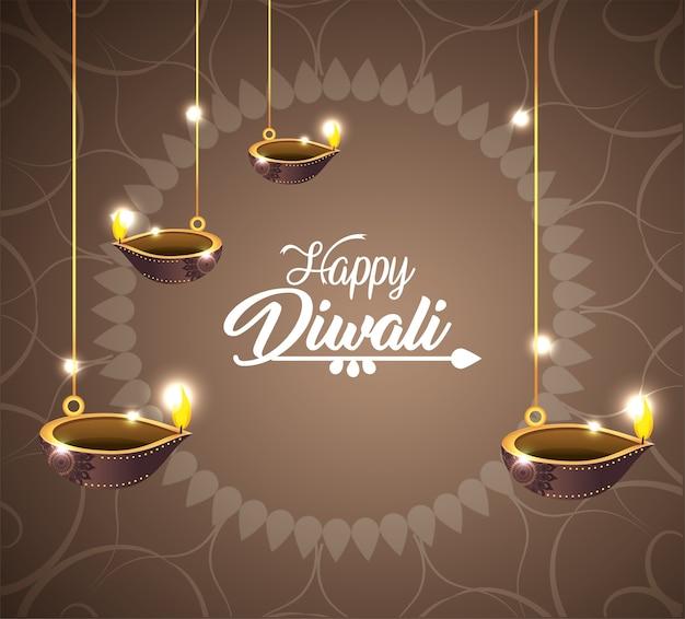 Os vassels de diwali lits a decoração de suspensão