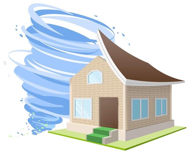 Os ventos do furacão arrancaram o telhado da casa. seguro de propriedade