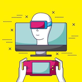 Os videogames projetam a realidade virtual de uma pessoa que joga em uma ilustração de console de vídeo