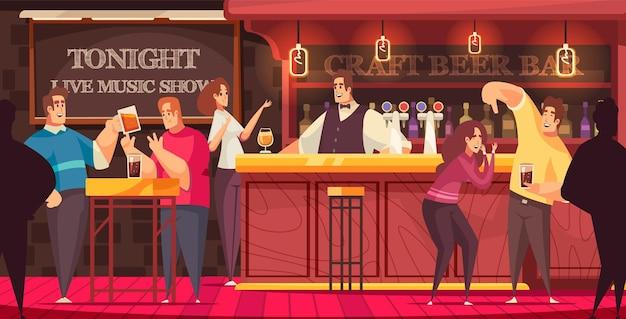 Os visitantes do bar ilustração de música ao vivo se divertem e conversam no bar ilustração Vetor Premium
