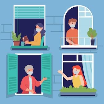 Os vizinhos do apartamento estão cumprimentando-se através da janela