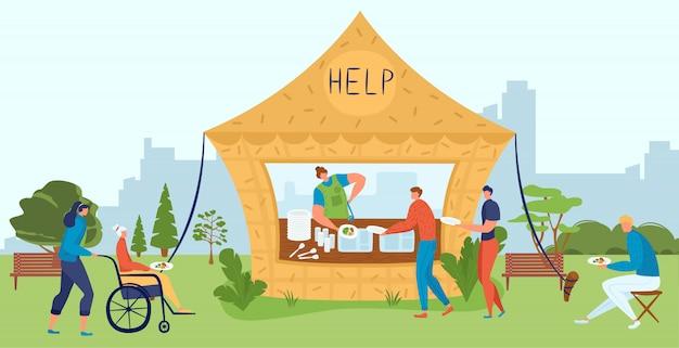 Os voluntários ajudam as pessoas idosas e deficientes, caridade alimentar, cuidam dos desabrigados, apoio social projeto ilustração plana.