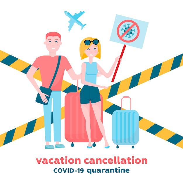 Os voos cancelados e as viagens de férias por causa do conceito de surto de coronavírus. casal de turistas com banner riscado coronavírus e território fechado do aeroporto