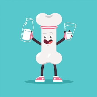 Osso bonito com leite na garrafa e copo. personagem de órgão interno humano dos desenhos animados de vetor isolada.