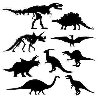 Osso de esqueleto pré-histórico da silhueta do dinossauro.