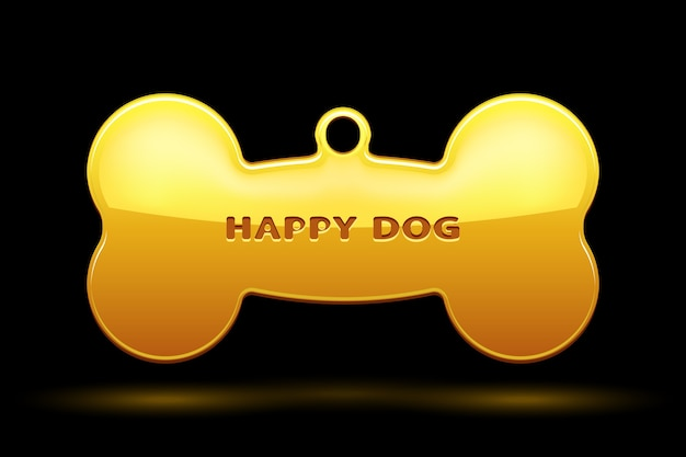 Osso dourado para coleira de cachorro