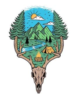 Ossos e ilustração da natureza