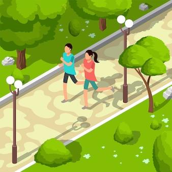Ostente a família que corre na ilustração 3d isométrica do vetor do parque. conceito de estilo de vida saudável