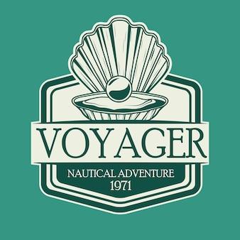 Ostra com pérola cinza náutico vintage emblema ícone ilustração