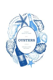 Ostras e modelo de design de vinho. mão-extraídas ilustração vetorial. bandeira de frutos do mar. pode ser usado para menu de design, embalagem, receitas, rótulo, mercado de peixes, produtos de frutos do mar.