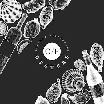 Ostras e modelo de design de vinho.