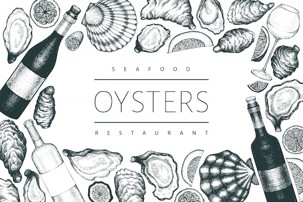 Ostras e modelo de vinho. mão ilustrações desenhadas. bandeira de frutos do mar. pode ser usado para o menu de design, embalagens, receitas, etiqueta, mercado de peixe, produtos de frutos do mar.