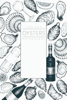 Ostras e vinho. mão ilustrações desenhadas. frutos do mar