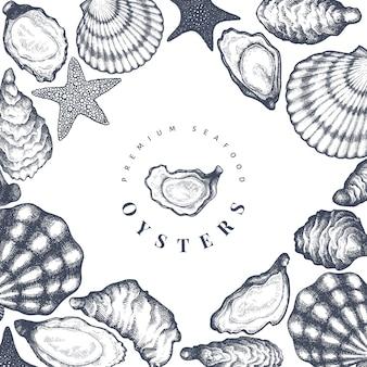 Ostras. mão ilustrações desenhadas. frutos do mar. pode ser usado para menu de design, embalagens, receitas, mercado de peixe, frutos do mar.